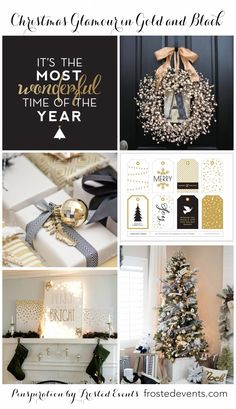 Glam up your house for the holidays with a little bit of gold and black. christmas inspiration, christmas decorating ideas