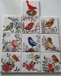 Pajaros Pottery Painting, Ceramic Painting, Ceramic Art, Tile Murals, Tile Art, China Painting, Mural Painting, Pottery Lessons, Bird Quilt