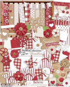 Cute Digital scrapbooking Christmas kit and card making Christmas kit in rich red and white with burlap elements.   This digital kit is so versatile for Christmas as well as other uses!!! FQB - Believe Collection by Nitwit Collections™ #digitalscrapbooking #cardmaking