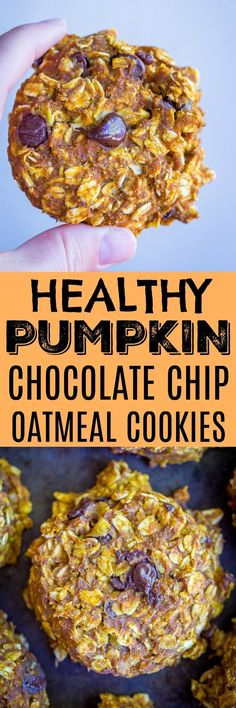 Healthy Pumpkin Chocolate Chip Oatmeal Cookies - These soft and delicious cookies are great for a make ahead breakfast for daytime snack! #pumpkin #cookies #healthy #glutenfree #vegan #mealprepping