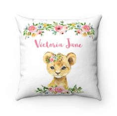 Personalized Lion Pillow, Personalised Name Pillow, Lion Cushion, Name Pillow Girl, Lion Nursery Decor, Lion Gifts, Lion Baby Shower Gift