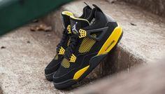 Nike AIR JORDAN IV 'THUNDER' Air Jordan Iv, Jordan 4 Black, Jordan Retro 4, Cheap Jordan Shoes, Air Jordan Sneakers, Cheap Jordans, Baskets, Black Thunder, Cheap Shoes Online