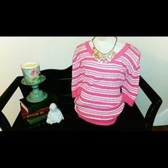 Light Weight Sweater Lovely pink and white with horizontal stripes. Light weight great for a autumn day. It's been gently used but has a lot of life left. Faded Glory Sweaters Crew & Scoop Necks