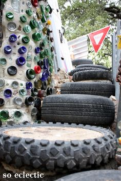 Stairs made from filled tires: Cathedral of Junk: Austin, Texas — SoEclectic