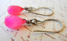 Pretty in Pink Earrings Chalcedony drops with by HelpEvanSent, $14.00