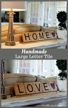 Handmade Large Letter Tile. Mothers Day gift Idea. Wood Letter Tile With Point Value. Home Decor. Scrabble. Rustic Home Decor. Wood Sign. I would love to have something like this in my kitchen, maybe say Let's Eat or something! Love this! #affiliate