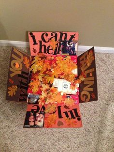 Fall care package, top with decorative leaves, decorate sides Bf Gifts, Diy Gifts For Boyfriend, Cute Gifts, Military Care Package Ideas For Boyfriend, Army Gifts, Halloween Gift Baskets, Halloween Gifts, Fall Care Package, Halloween Care Packages