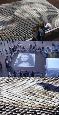 Mona Lisa made from 3,604 cups of coffee.