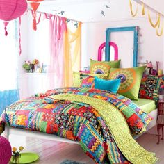 colorful boho bedding