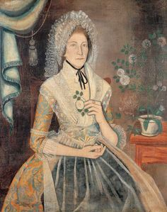 """Mary Kimberly Thomas Attributed to Reuben Moulthrop West Haven, Connecticut c. 1788 Oil on canvas 45 x 36 in. American Folk Art Museum, promised gift of Ralph Esmerian, Holding a rose and seated by a potted rose 18th Century Fashion, Primitive Folk Art, Naive Art, Outsider Art, Early American, American Artists, Art Museum, American History, Female Clothing"