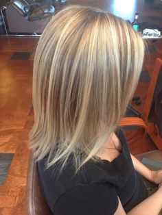Balayage highlights and lowlights. Dimensional color medium length hair