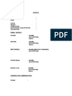 Biodata Format for Marriage 1 Resume Format Free Download, Biodata Format Download, Marriage Biodata Format, Bio Data For Marriage, Assistant Engineer, Information And Communications Technology, Book Sites, Life Partners, Resume Cv