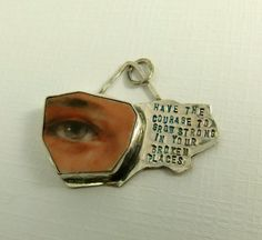Have The Courage To Grow Strong - Upcycled Sterling And Broken Ceramic Plate - Art Jewelry Pendant - 944. $106.00, via Etsy.