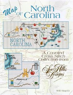 North Carolina Map - Cross Stitch Pattern