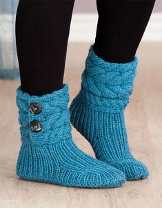 Free Knitting Pattern for Cable Cuffed Boots - Super-cozy slippers knit with rib. : Free Knitting Pattern for Cable Cuffed Boots – Super-cozy slippers knit with ribbing and cuffs. 3 sizes: S (M, L). Designed by Lena Skvagerson. Loom Knitting, Knitting Stitches, Knitting Socks, Knitting Patterns Free, Knit Patterns, Free Knitting, Knitting With Hands, Beginner Knitting, Crochet Socks