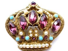The Jewelry Lady's Store: Vintage Rhinestone Crown Brooch Royal Pin