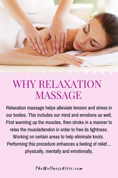 Relaxation massage helps alleviate tension and stress in our bodies. This includes our mind and emotions as well.  First warming up the muscles, then stroke in a manner to relax the muscle/tendon in order to free its tightness.  Working on certain areas to help eliminate knots.  Performing this procedure enhances a feeling of relief… physically, mentally and emotionally.