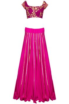 Magenta and mulberry embroidered lehenga set available only at Pernia's Pop-Up Shop.