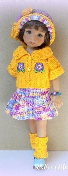 muñeca ropa Casa De Muñecas Miniaturas Niñas Adolescentes Blanco y suéter púrpura pantalones