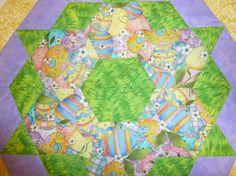 Easter Egg Hunt Table Mat 20 in diameter by Quiltbuilders on Etsy