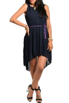 DHStyles Women's Navy Sweet Sleeveless Pleated Chiffon High-Low Party Dress With Rope Belt - Large #sexytops #clubclothes #sexydresses #fashionablesexydress #sexyshirts #sexyclothes #cocktaildresses #clubwear #cheapsexydresses #clubdresses #cheaptops #partytops #partydress #haltertops #cocktaildresses #partydresses #minidress #nightclubclothes #hotfashion #juniorsclothing #cocktaildress #glamclothing #sexytop #womensclothes #clubbingclothes #juniorsclothes #juniorclothes #trendyclothing…