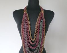Golden Mustard Black Cord Color Statement Crochet Chains Necklace Lariat Bib with Metal Flower Charms Pendants Tassel Necklace, Mustard, Lilac, Shawl, Cord, Knitting Patterns, Etsy, Trending Outfits, Unique Jewelry