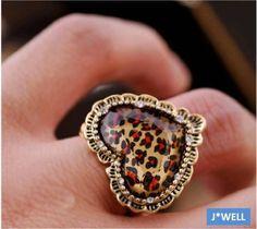 $9.99 Free ship  & Free giftBetsey Johnson Leopard  Heart Bronze Stretch Ring USA SELLER & Free gift #BetseyJohnson