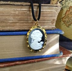 Victorian Charm Cameo Necklace (BLACK and IVORY) Cameo Jewelry, Classical Maiden Cameo Necklace, Black and Cream by RevealedTreasuresByL on Etsy