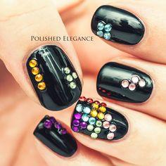 tetris manicure gaming manicure game nail art black nail polish tetris nail art rhinestones