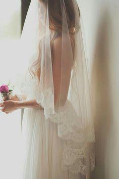 {Romantic Fingertip Length Bridal Drop Veil Featuring Lace Edge/Trim}