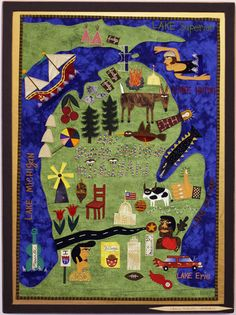 The Great State of Michigan. Original art by self taught New Orleans fabric artist, Chris Roberts-Antieau.