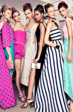 Clique, Karlie Kloss, models, supermodels, fashion, runway, dresses, couture, colours, vibrant