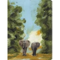 "'Nightfall Among the Elephants I' by T. Graham Painting Print on Wrapped Canvas Size: 40"" H x 28"" W $160.07 by Wayfair"