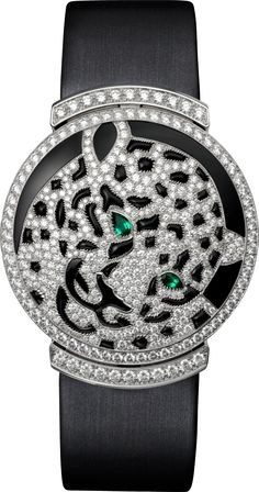 Cartier High Jewelry Watch Small model, 18K white gold, emeralds, onyx, diamonds