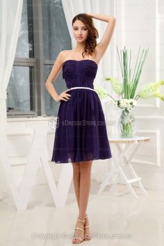 A-line Strapless Chiffon Knee-length Purple Ruffles Cocktail Dress
