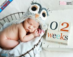 Wooden Baby Age Blocks - UV PRINTED - NO Stickers - Months, Years, Weeks, Grade - Unique Photo Prop