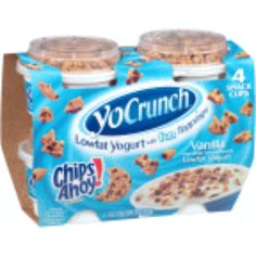 It's Chips Ahoy!® chocolate chip cookie pieces with vanilla lowfat yogurt, so essentially it's the best snack ever. Chips Ahoy Cookies, Yummy Treats, Yummy Food, Sleepover Food, Oreo Flavors, Disney Coffee Mugs, Junk Food Snacks, Low Fat Yogurt, Food Goals