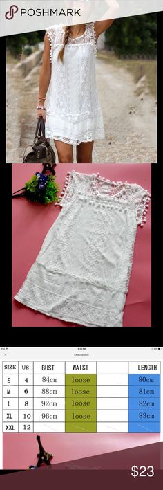 White Lace Mini Dress I grave S,M,L and XL. Please check the last photo for sizes and measurements Dresses Mini