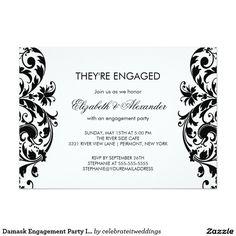 Damask Engagement Party Invitations Black & White