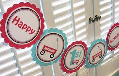 Little Red Wagon Banner - Wagon Word BANNER -  1st Birthday - Birthday Party Decorations. $16.00 USD, via Etsy.
