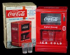 """1950s Linemar Tin """"Battery Operated Dispenser Bank Advertising 'Coca– Cola' Unused in Box"""