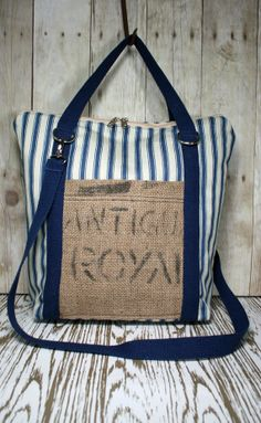 Handmade Blue Ticking and Burlap Tote / Handbag by TurtleDoveBags, $85.00