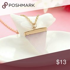 🆕🔺 Pink Triangle Necklace Beautiful new light baby pink statement necklace Pink stone with gold plated accents Gold chain Absolutely gorgeous Jewelry Necklaces