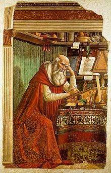 """ St Jerome in his Study Domenico Ghirlandaio (Italian, Fresco. The St Jerome fresco rivalled the St Augustine which Botticelli had painted there a. St Jerome, Italian Renaissance Art, Renaissance Kunst, Medieval Art, High Renaissance, Patron Saints, Catholic Saints, Fresco, Tempera"