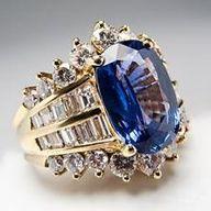 Natural Blue Sapphire and #Diamond Cocktail Ring, 18K Gold Fine Estate Jewelry - EraGem