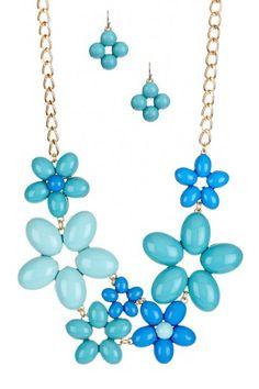 Monet Rosette Bib Necklace & Earrings Set
