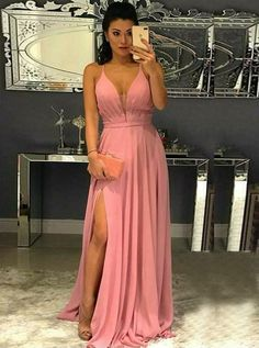 Prom Dress Beautiful, A-Line Spaghetti Straps Pink Chiffon Prom Dress with Split, Discover your dream prom dress. Our collection features affordable prom dresses, chiffon prom gowns, sexy formal gowns and more. Find your 2020 prom dress Straps Prom Dresses, Prom Dresses With Pockets, V Neck Prom Dresses, Pink Prom Dresses, Cheap Prom Dresses, Simple Dresses, Dress Prom, Party Dresses, Ladies Dresses
