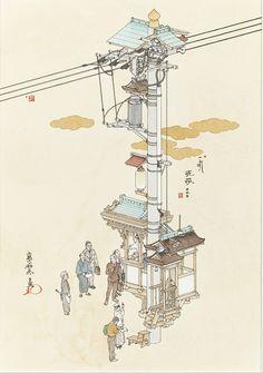WHAT A BEAUTIFUL ARCHITECTURE DRAWING!  山口晃『演説電柱』2012年 個人蔵 ©YAMAGUCHI Akira, Courtesy of Mizuma Art Gallery