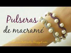 Cómo hacer una pulsera bonita con macramé y perlas. Nudo alondra - YouTube