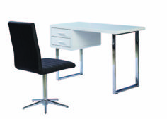 "This sleek modern white computer desk is perfect for studying and writing. This desk comes with 2 drawers with slide metal rails for extra storage, high gloss and stainless steel legs. Its simple and perfect for any bedroom or dorm use.  Dimension: 47""L x 22""D x 30""H  Material: Poplar Wood, MDF, Lacquer, High Gloss with Extra Coding  Color: White  Includes: One (1) Desk; chair shown in picture is not included  Assembly Required"